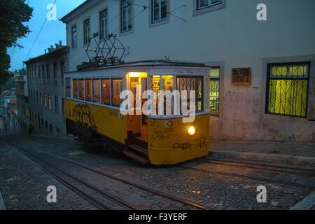 ​Lisbon, Portugal, 5 October, 2015. A Glória Funicular which links Restauradores Square with Bairro Alto seen - Stock Image