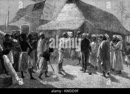 The meeting of Henry Morton Stanley and Dr David Livingstone, Ujiji, Tanganyika, East Africa 10th November 1871 - Stock Image