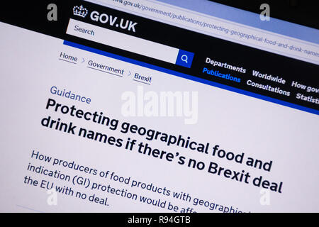 Computer screenshot of the gov.uk website showing advice on protecting geographical food and drink names if there is no Brexit deal - Stock Image