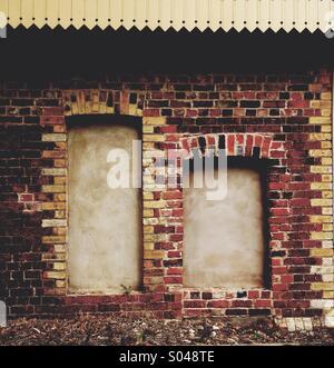 Blocked in window and Door in Wall - Stock Image