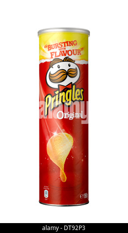 A cut out shot of a tube of Pringles - Stock Image