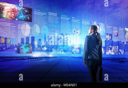 online curation media concept. electronic newspaper. young woman looking at various news images. abstract mixed - Stock Image
