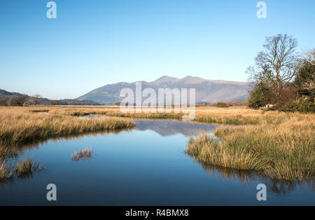 A scenic view of the river Derwent as it flows into Derwentwater lake Cumbria England UK - Stock Image
