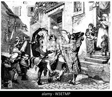Roman Carnival, ,  (cultural history book, 1875) - Stock Image