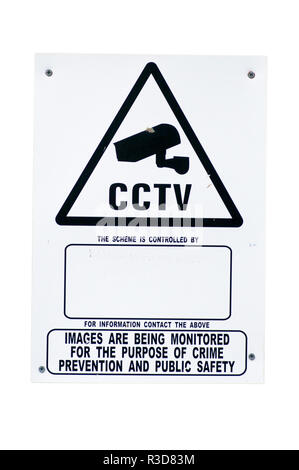 Cut Out Of a CCTV Sign - Stock Image
