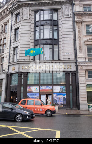 The embassy of Kazakhstan to the UK. It is located at at 125 Pall Mall in London, which was renamed Kazakhstan House in December 2018. - Stock Image