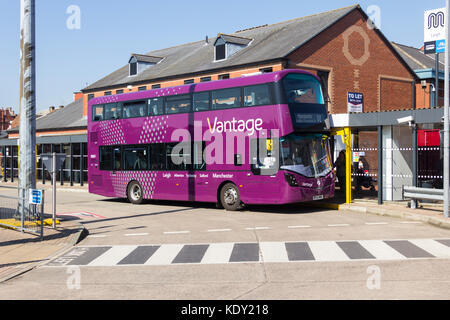 Vantage branded bus at Leigh bus station. The bus is specially designed to utilise the 7km long  Leigh to Manchester - Stock Image