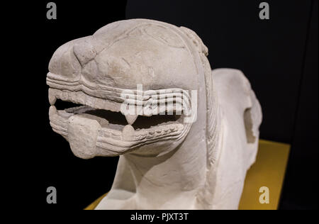 Cordoba, Spain - September the 7th, 2018: Iberian lion from Nueva Carteya at Archaeological and Ethnographic Museum of Cordoba - Stock Image