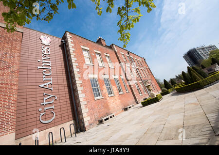 Wide angle view of Wolverhampton City Archives in the restored Georgian  manor house also known as the old Molineux - Stock Image