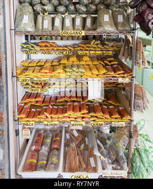 A selection of spices on sale in the market at Santa Cruz de Tenerife, Tenerife, Canary Islands - Stock Image