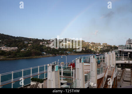 A view across the open top deck of Britannia in St Lucia, The Caribbean - Stock Image