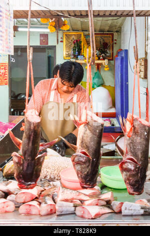 Bangkok, Thailand - April 21st 2011. Fish heads on a fishmongers stall. Fish is a popular food. - Stock Image