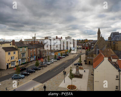 A view down the Bishop Auckland Market Place from the Auckland Tower showing the Spanish Gallery under construction for completion 2019 - Stock Image