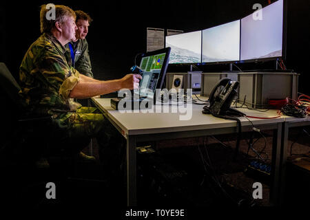 King Willem-Alexander visits the  Air Defense Command at the Lieutenant General Best Barracks in Vredepeel, The Netherlands, 22 March 2019. The command protects from the ground vital objects and areas from the Netherlands and allies. Photo: Patrick van Katwijk / NETHERLANDS OUT | - Stock Image