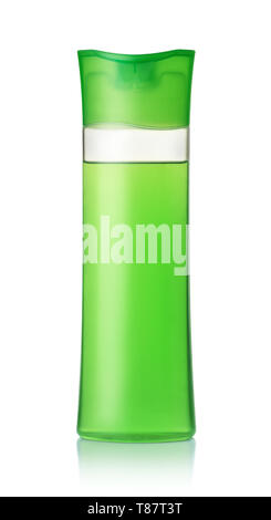 Front view of green plastic shampoo bottle isolated on white - Stock Image