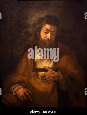 The Apostle Simon, Rembrandt, 1661, Zurich Kunsthaus, Zurich, Switzerland, Europe - Stock Image