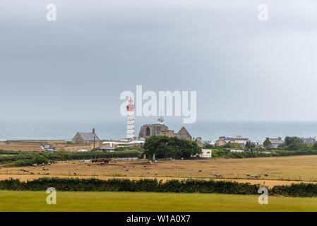 Pointe Saint Mathieu Lighthouse in Brittany, France. Cloudy day - Stock Image