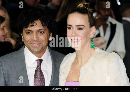 Sarah Paulson and M. Night Shyamalan at the UK Premiere of GLASS on Wednesday 9 January 2019 held at Curzon, Mayfair, London. Pictured: Sarah Paulson, M. Night Shyamalan. Picture by Julie Edwards/LFI/Avalon.  All usages must be credited Julie Edwards/LFI/Avalon. - Stock Image