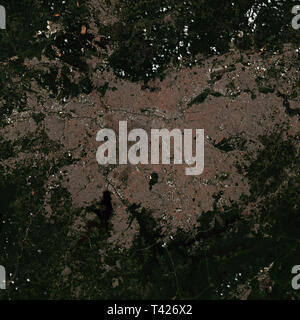 Sao Paolo in Brazil seen from space - contains modified Copernicus Sentinel Data (2019) - Stock Image