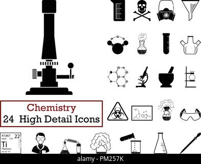 Set of 24 Chemistry Icons. Monochrome color design. Vector illustration. - Stock Image