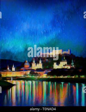FINE ART: Salzburg by Night, Austria - Stock Image