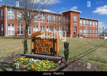 The lofts at NoDa Mills, NoDa neighborhood, North Davidson, Charlotte, North Carolina. Mill converted to residential - Stock Image
