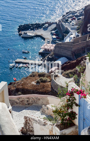 Harbour of Oia Santorini Greece - Stock Image