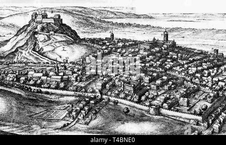 The City of Edinburgh from the South, drawing by Wenceslas Hollar, 1670 showing Edinburgh Castle - Stock Image