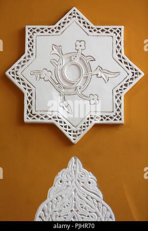 Wall decoration. Majorelle Garden. Marrakech. Morocco. - Stock Image