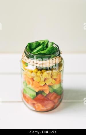 Fresh salad in a Jar - Stock Image
