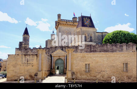 The castle of the dukes of Uzès in southern France - Stock Image