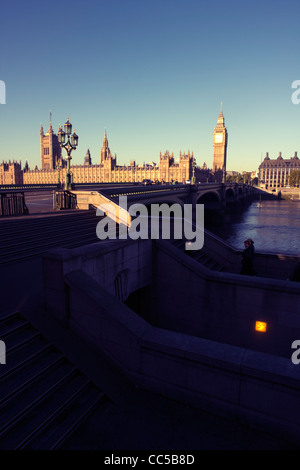 Westminster Bridge and Houses Of Parliament (Big Ben), London England - Stock Image