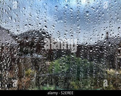 Rain on window - Stock Image