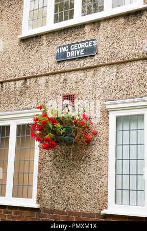 Liverpool Wirral Port Sunlight Village King Georges Drive typical workers Edwardian family cottage house museum leaded windows flower basket - Stock Image