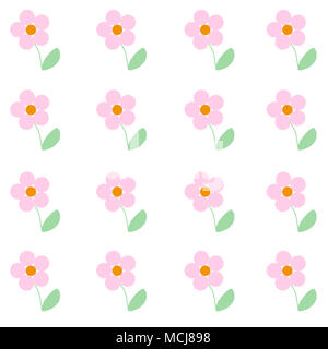 Cute illustrated baby pink flowers. Simple print to be used as a canvas, background, wallpaper... Childlike drawing with pastel colors. - Stock Image