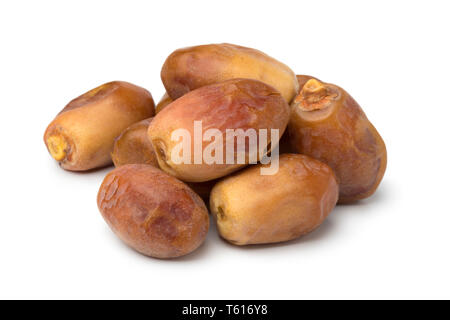 Heap of dried Iranian Zahedi dates isolated on white background - Stock Image