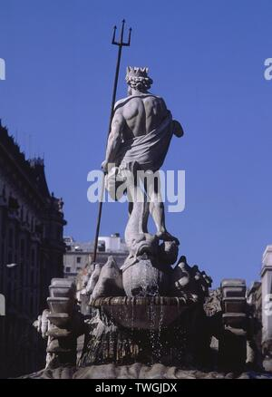 FUENTE DE NEPTUNO. Author: JUAN PASCUAL DE MENA. Location: PLAZA DE CANOVAS DEL CASTILLO. MADRID. SPAIN. - Stock Image