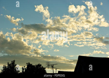 Sunset in a suburban area - Stock Image