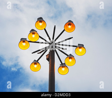 overhead lights in park - Stock Image