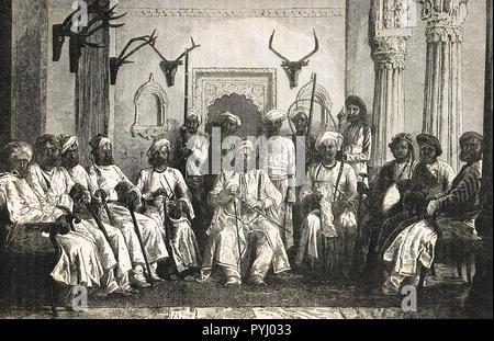 Maharajah of Rewah, India, and his court - Stock Image