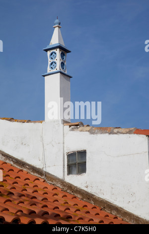 Portugal, Algarve, Ferragudo, Rooftops & Chimney - Stock Image