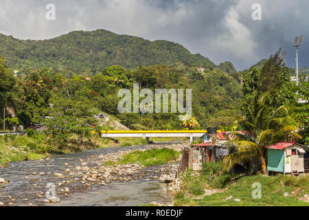 The Roseau River Reseau Dominica West Indies - Stock Image