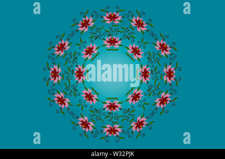 Turquoise background backlit and a round wreath of embroidered stylized flowers with red and pink petals on twisted branches with leaves - Stock Image