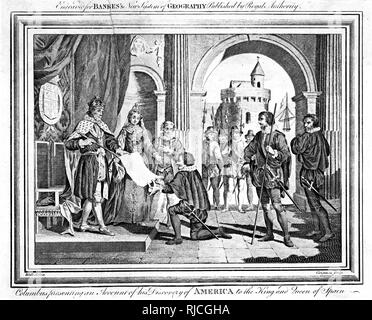 Columbus presenting an account of his discovery of America to Ferdinand and Isabella, King and Queen of Spain. Columbus kneels presenting a written account of his journey to Ferdinand. - Stock Image