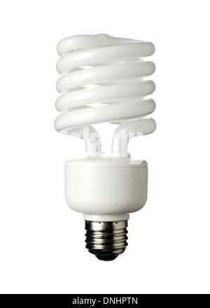 An energy savings light bulb on a white background. Compact Fluorescent light bulb CFL - Stock Image