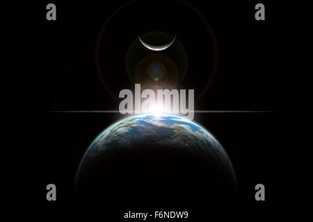 An artist's depiction of a star rising over an Earth-like planet and illuminating it's lone moon. - Stock Image