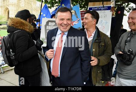 27th Mar 2019. Arron Banks, Co Founder of Leave EU campaign, Andy Wigmore, On the day that Parliament took control of Brexit, Houses of Parliament, London. UK Credit: michael melia/Alamy Live News - Stock Image