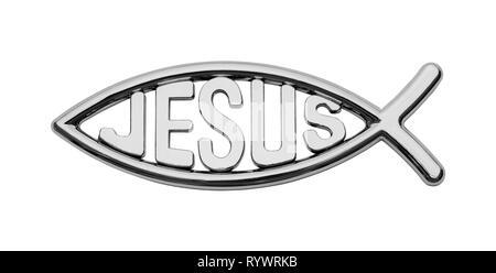 Chrome Jesus Fish Car Badge Isolated on White. - Stock Image