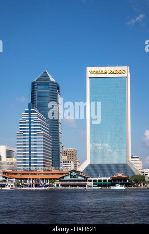 Wells Fargo building, Jacksonville buildings, Florida, USA - Stock Image