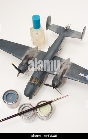 Aviation plastic scale model isolated on white - Stock Image